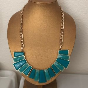 TEAL AND TURQUOISE STATEMENT NECKLACE